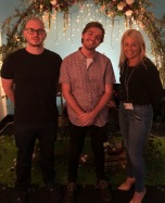 Judges Adam Ross and Louise Chamberlain with Major Project student Rowan Slade