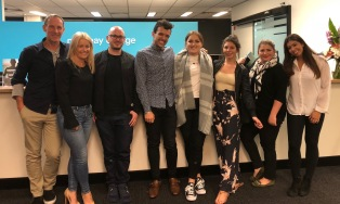Judges Ian Thomson, Louise Chamberlain and Adam Ross with Major Project students Mtthew Fiacchi, Sophie Robertson, Grace Cooper, Adriana Kind and Alana Taylor-Benn